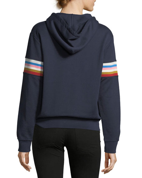 Drawstring Fleece Hoodie with Multicolor Rib-Insert