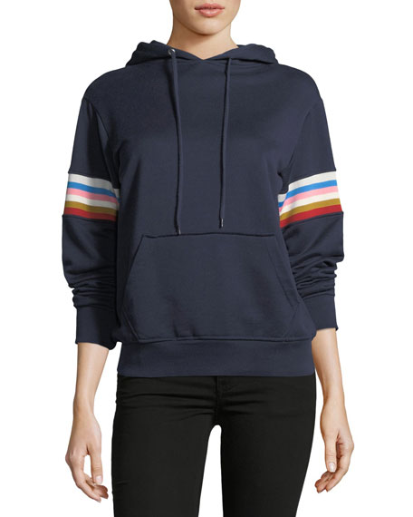 Alexa Chung Drawstring Fleece Hoodie with Multicolor Rib-Insert