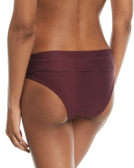 Monaco Fold-Over Pintucked Swim Bikini Bottoms