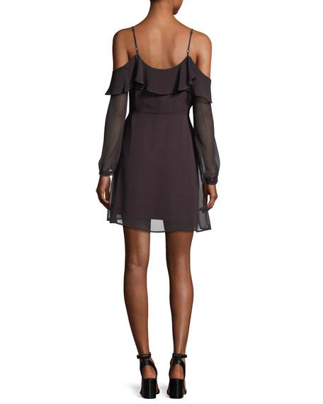 Sundra Cold-Shoulder Chiffon Dress
