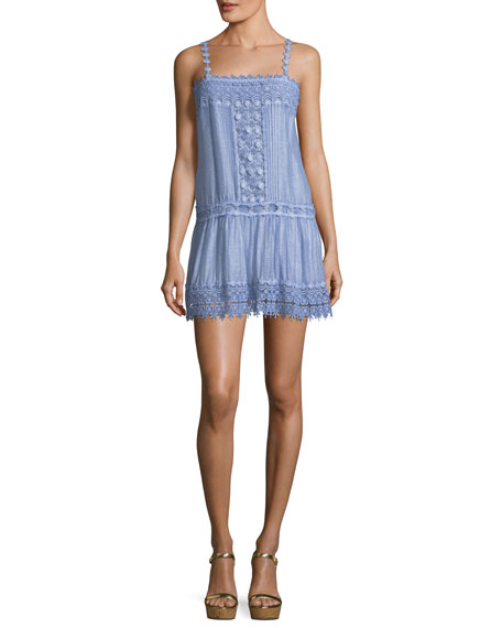 Sleeveless Dyed Cotton-Silk Blend Mini Dress with Lace Details