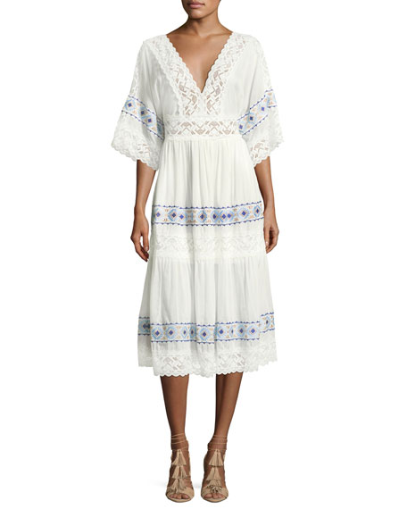 Queen & Pawn Anatole Deep-V Cotton-Silk Voile Midi