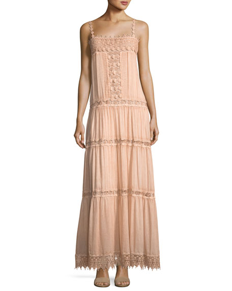 Square-Neck Sleeve Cotton-Silk Maxi Dress with Lace Details