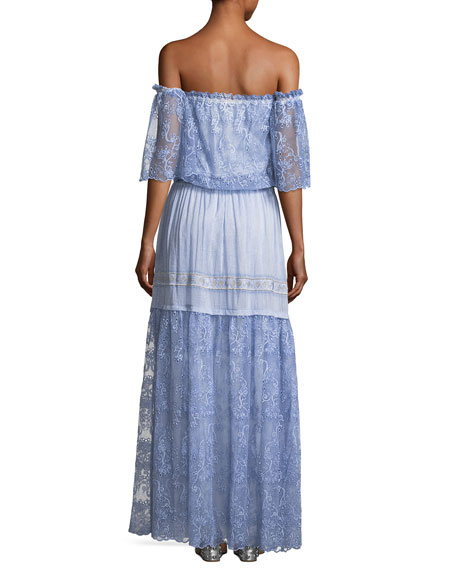 Lydia-Troy Off-the-Shoulder Embroidered Lace Maxi Dress
