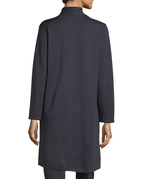 Long Double-Knit Open Cardigan
