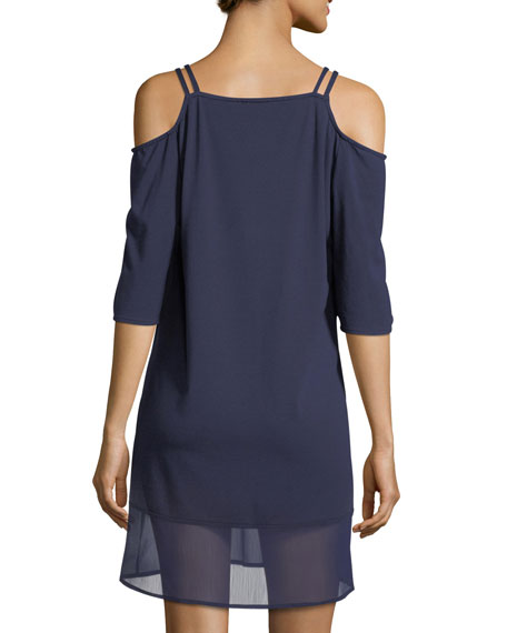 Lace-Front Cold-Shoulder Tunic Coverup