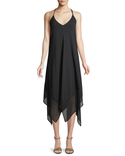 Sleeveless V-Neck Scarf Coverup Dress