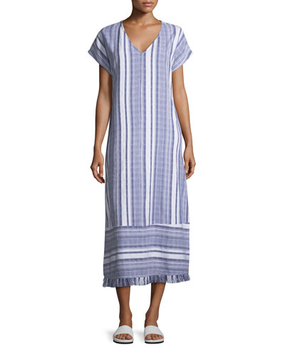 V-Neck Dolman-Sleeve Striped Cotton Tea-Length Coverup Dress