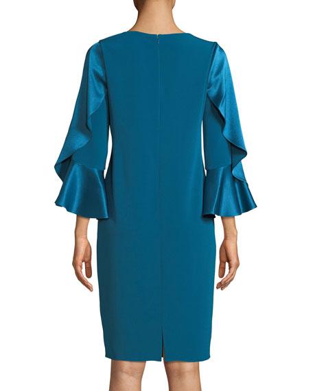 3/4-Sleeve Sheath Cocktail Dress w/ Ruffles