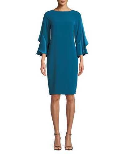 3/4-Sleeve Sheath Cocktail Dress w/ Ruffles