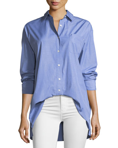 Button-Down Shirting Everson Blouse with Pocket