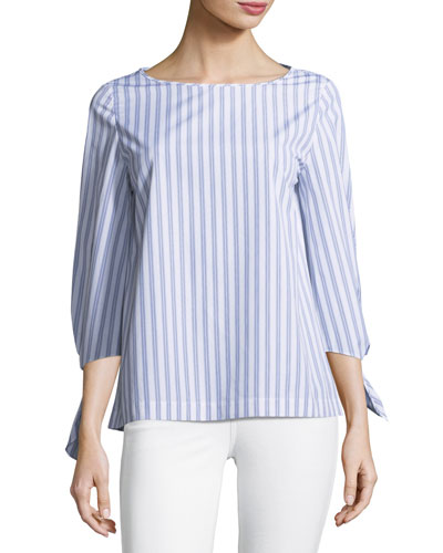Elaina Sophisticated Self-Tie Striped Blouse