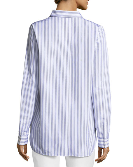 Kadin Sophisticated Striped Long-Sleeve Blouse