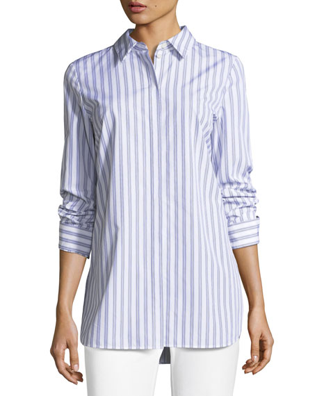 Lafayette 148 New York Kadin Sophisticated Striped Long-Sleeve