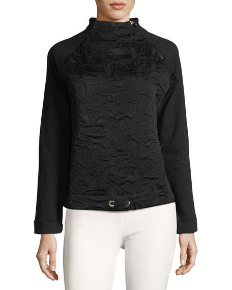 Smina Mock-Neck Jacquard Pullover Sweater