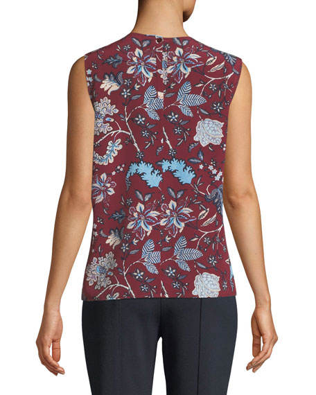 Floral-Print Sleeveless Silk Shell Top