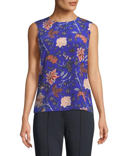 Floral-Print Sleeveless Silk Shell Top