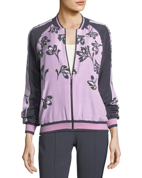 St. John Collection Falling Flower-Print Bomber Jacket