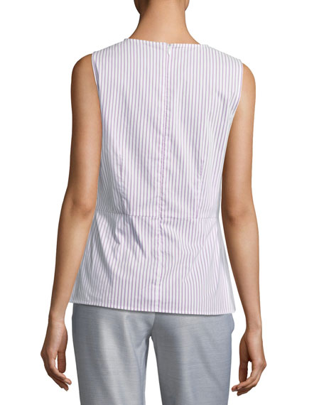 Pinstriped Shirting Top w/ Twist