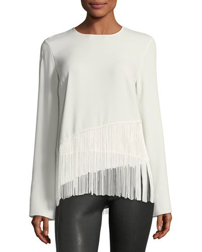 Hudson Crewneck Long-Sleeve Crepe Top with Fringe Hem