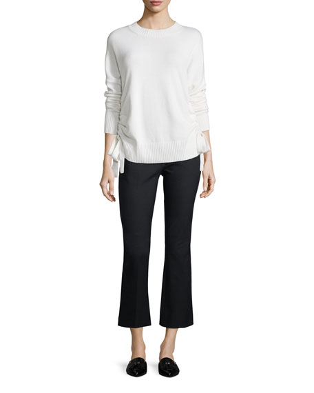 Cropped Flared-Leg Trousers with Grommet Details