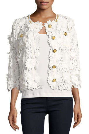 Michael Simon Plus Size Floral Crochet Jacket