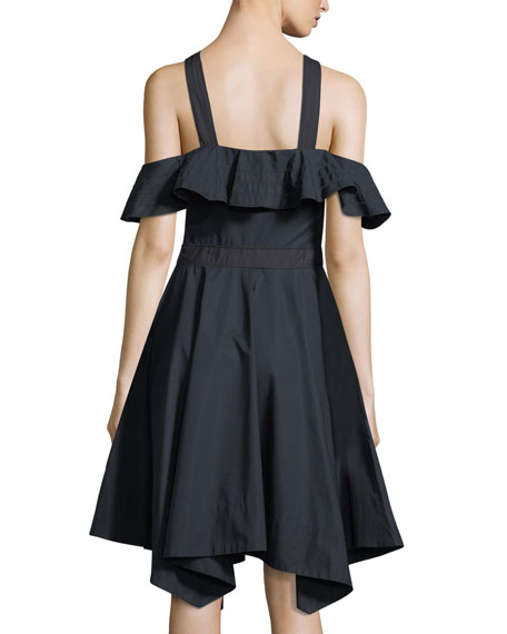 Off-the-Shoulder Halter Poplin Dress