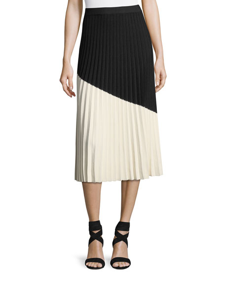Derek Lam 10 Crosby Colorblocked Pleated Midi Skirt