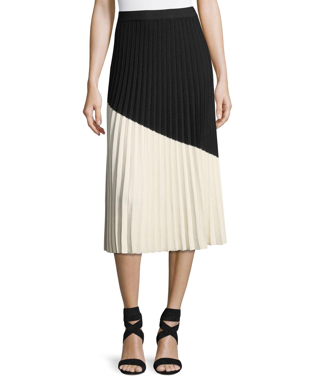 64c692d829 Derek Lam 10 Crosby Colorblocked Pleated Midi Skirt   Neiman Marcus