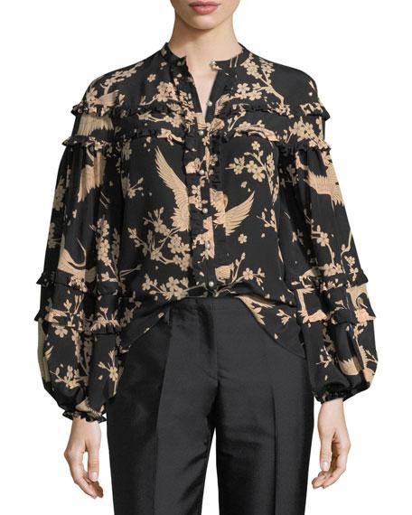 Button-Front Printed Blouson-Sleeve Silk Blouse