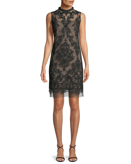 Sleeveless Mock-Neck Lace Short Cocktail Dress