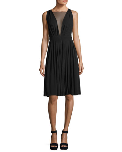 Sheer-V Sleeveless Tea-Length Cocktail Dress