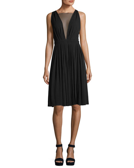 No. 21 Sheer-V Sleeveless Tea-Length Cocktail Dress