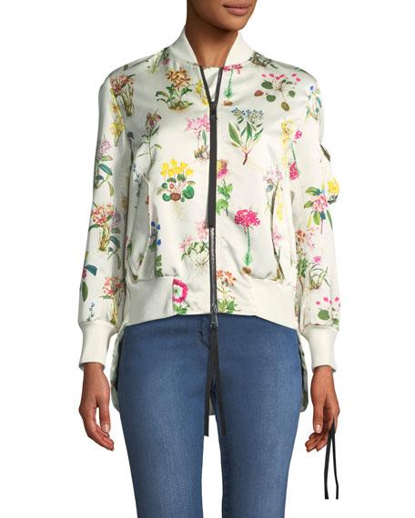 Floral-Print Satin Bomber Jacket