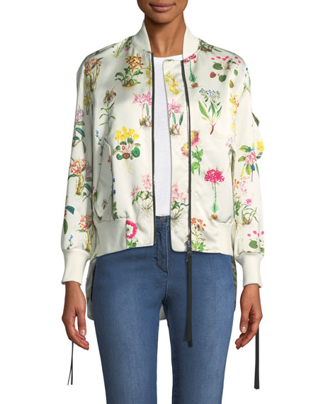 No. 21 Floral-Print Satin Bomber Jacket