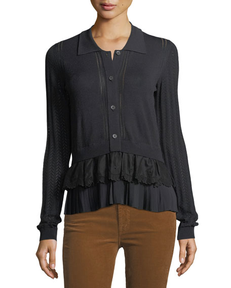 No. 21 Button-Front Long-Sleeve Mixed-Knit Top with Chiffon