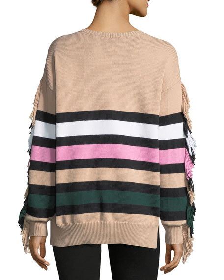 Crewneck Striped Knit Sweater with Fringed Trim