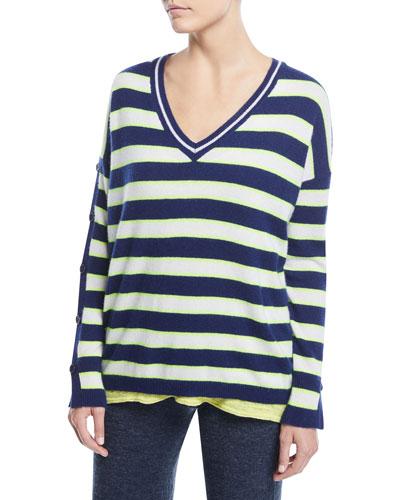 Stripe Cashmere Button-Sleeve Sweater
