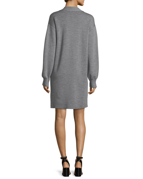 Saralyn V-Neck Sweatshirt Dress with Snap Detail