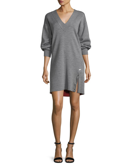 Rag & Bone Saralyn V-Neck Sweatshirt Dress with