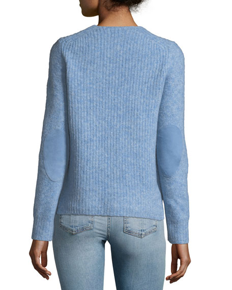 Francie Crewneck Wool-Blend Sweater with Suede Elbow Patches