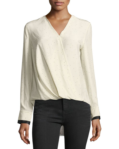 Rag & Bone Victor Speckled Long-Sleeve Draped Silk