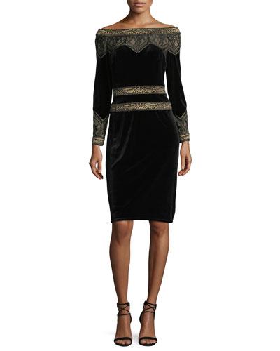 Velvet Long-Sleeve Lace-Detail Cocktail Dress