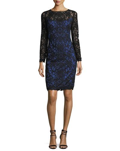 Long-Sleeve Lace-Illusion Cocktail Sheath Dress