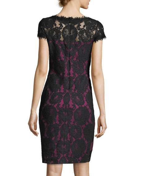Lace Illusion Short-Sleeve Cocktail Sheath Dress