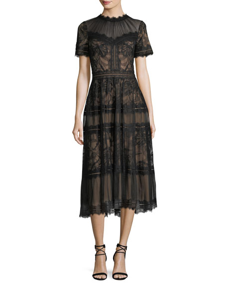 Tadashi Shoji Lace High-Neck Pleated A-Line Cocktail Dress