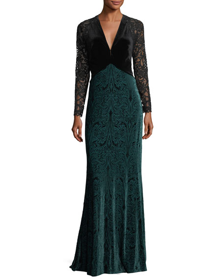 Deep V-Neck Lace-Illusion Gown