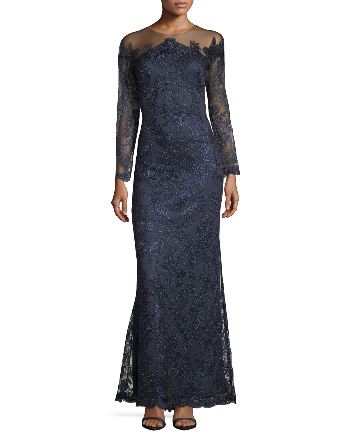 85304d49cd4f Tadashi Shoji Embellished Lace Illusion Long-Sleeve Gown | Neiman Marcus