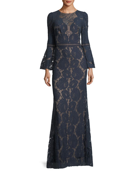 Trumpet-Sleeve Lace-Illusion Gown