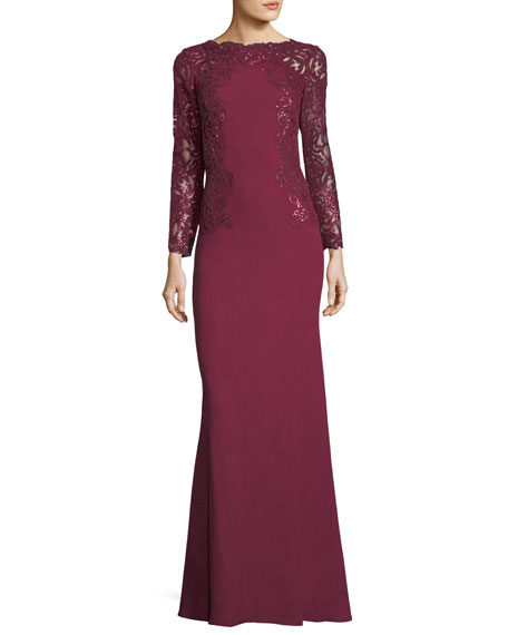 Long-Sleeve High-Neck Lace Gown